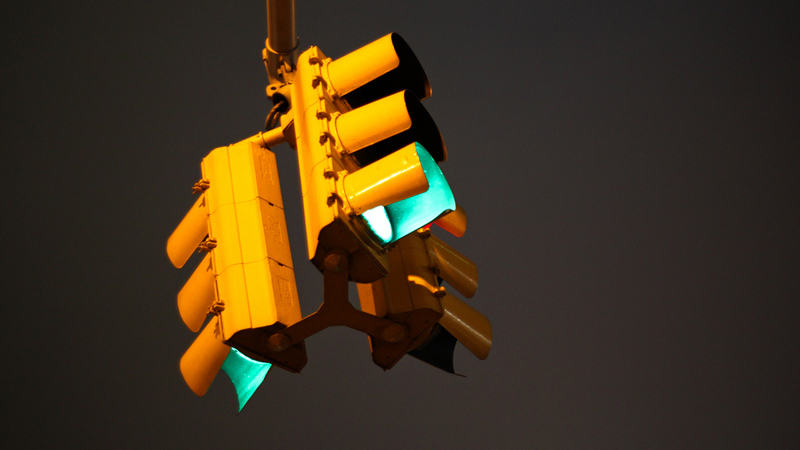 traffic lights with the green light on
