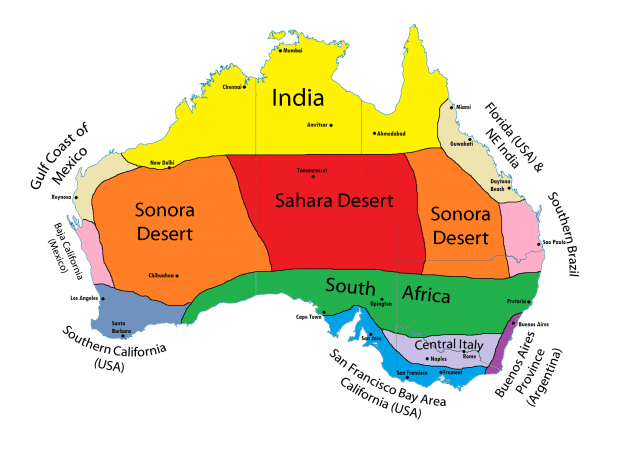 Map of Australia's climate twins