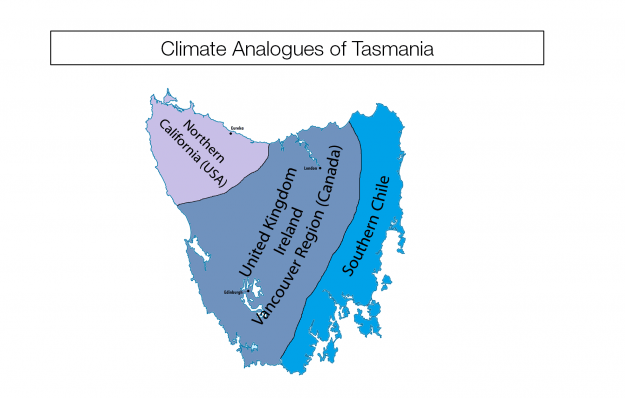 Map of Tasmania's climate twins