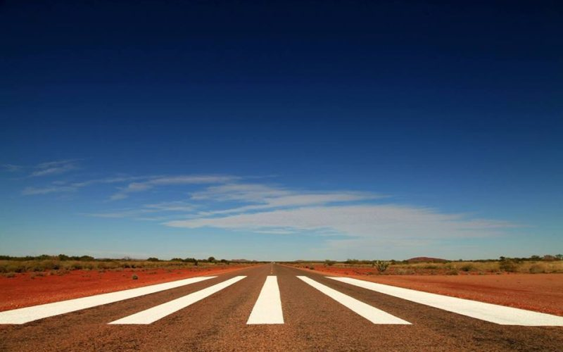 Never-ending road in the Outback