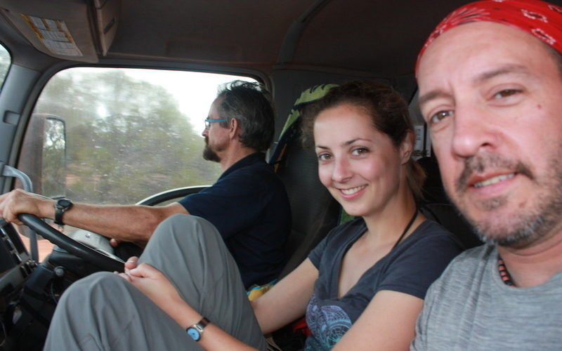 Tour guide Sean, Sanne and Lee, finally in the front seat together! Photo by Lee