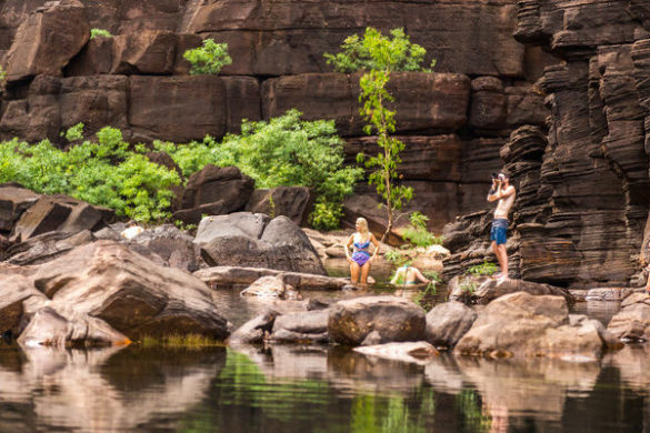 Travellers at a swimming hole in Kakadu
