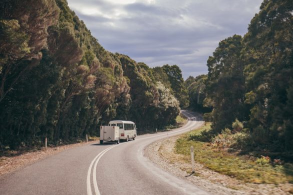 A bus on Tasmania's winding road