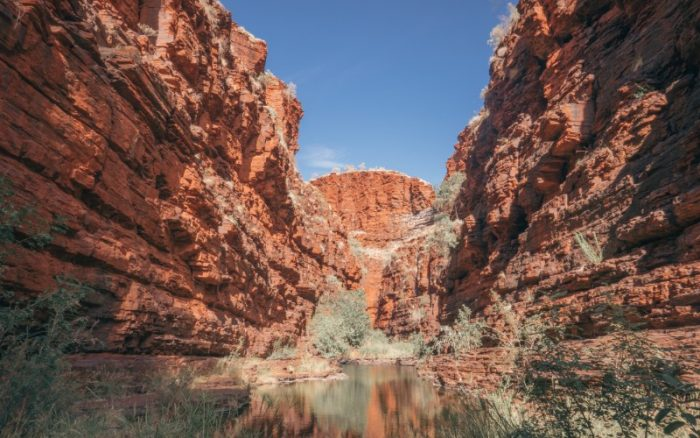 Two giant gorges either side of a swimming hole in Karijini Nartional Park