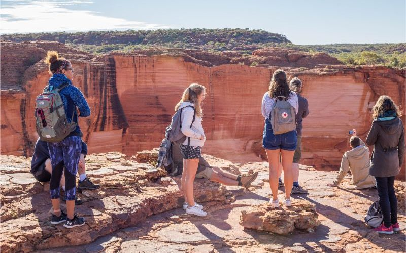 group of people looking into kings canyon