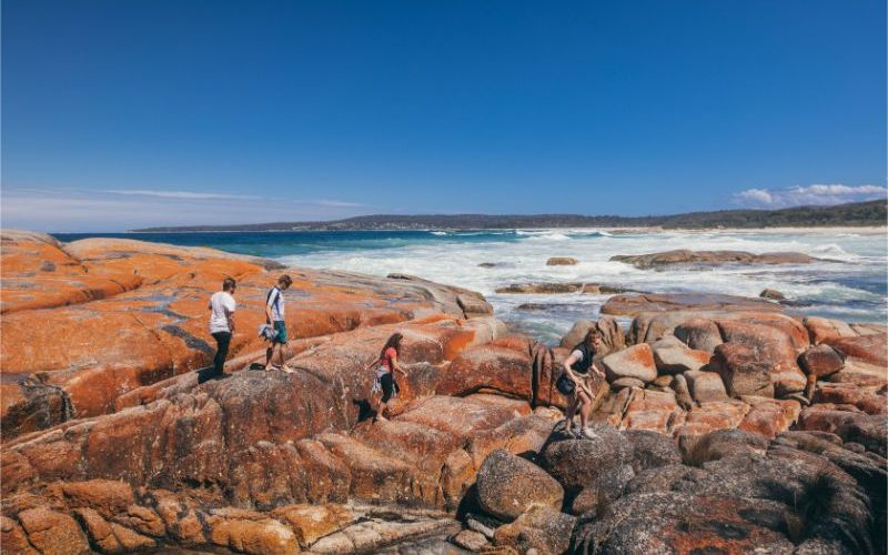 People at bay of fires walking along the rocks