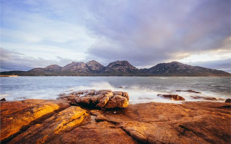 Freycinet Bay in Tasmania overlooking out to the sea