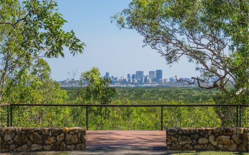 Darwin skyline from Charles Darwin National Park.