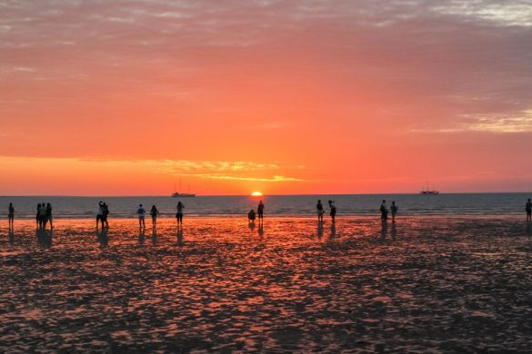 People watching sunset at Mindil beach, Northern Territory, Australia