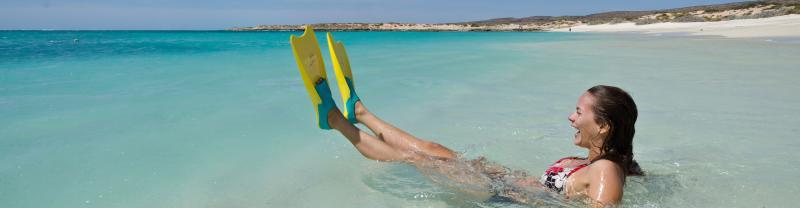 Girl swimming at Turquoise Bay, Western Australia