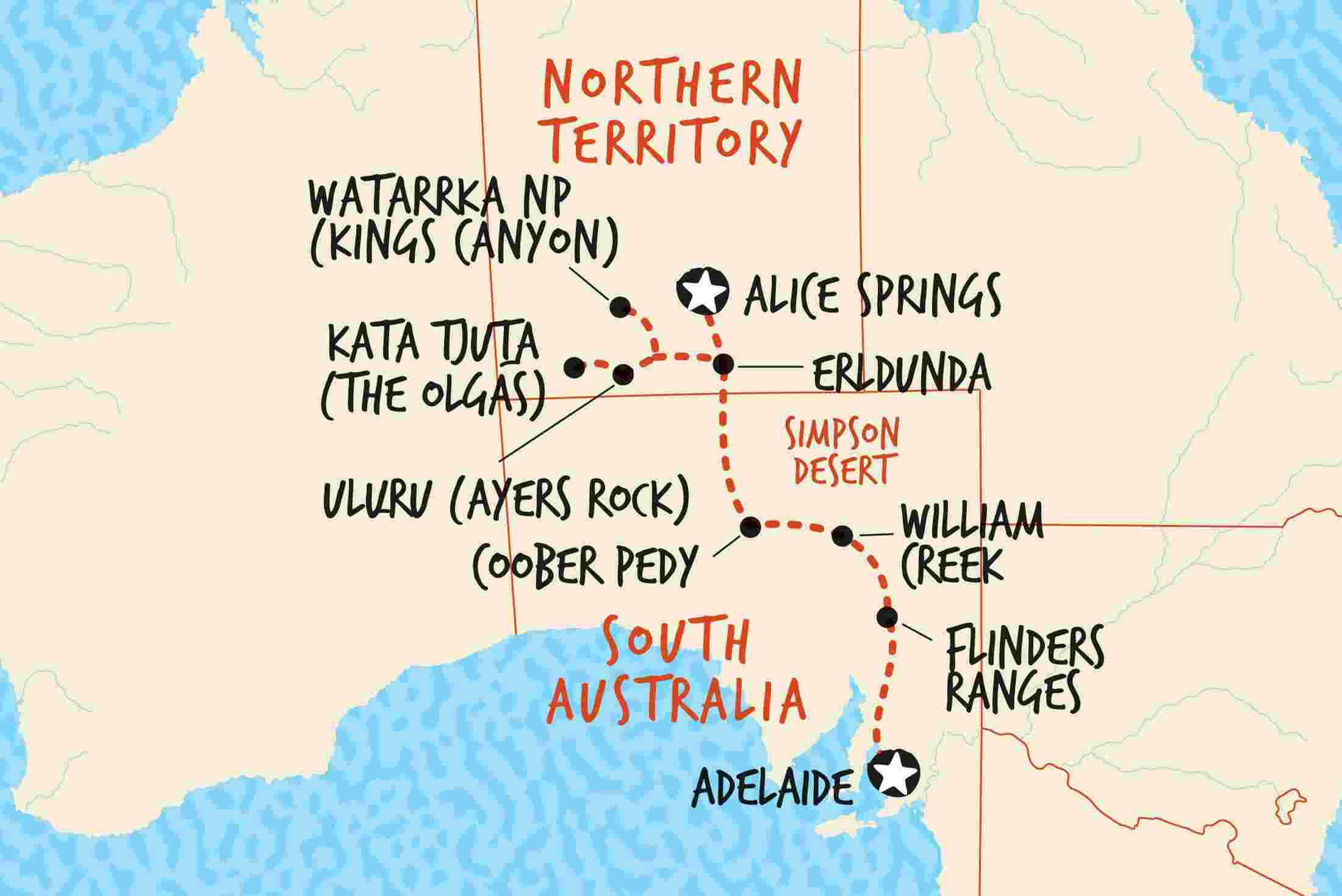 map of adelaide to alice springs overland including australia