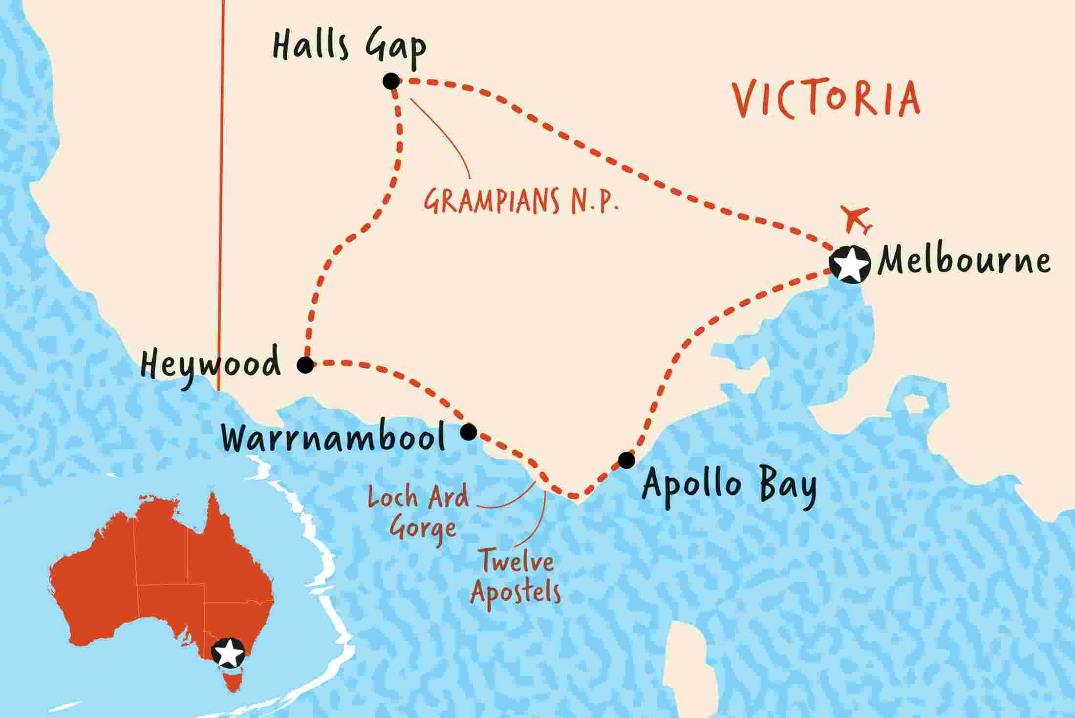 Great Ocean Road Map Great Ocean Road & Grampians Discovery | Adventure Tours AU Great Ocean Road Map