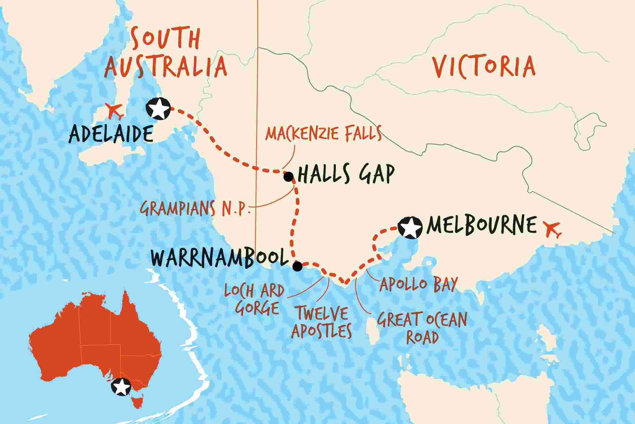 map of great ocean road adventure ex melbourne original including australia