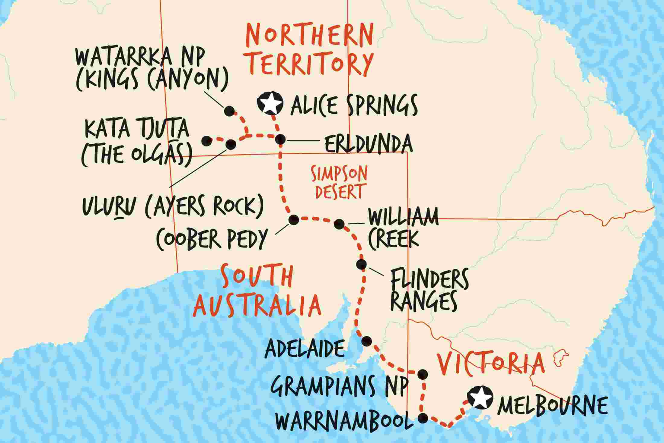 Melbourne Australia World Map.South Australia Tours Trips Adventure Tours Au