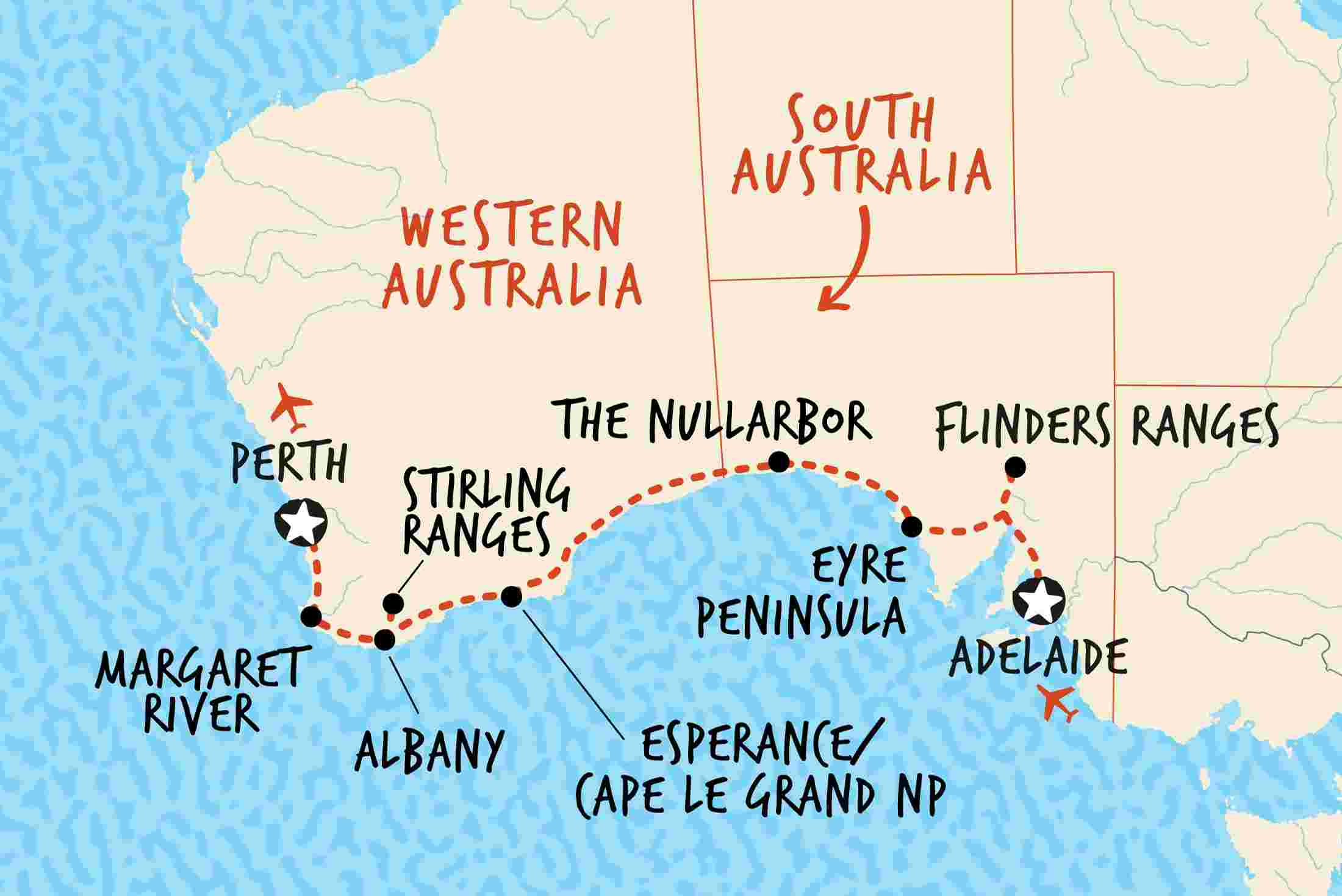 Southwest Australia Map.Western Australia Tours Travel Adventure Tours