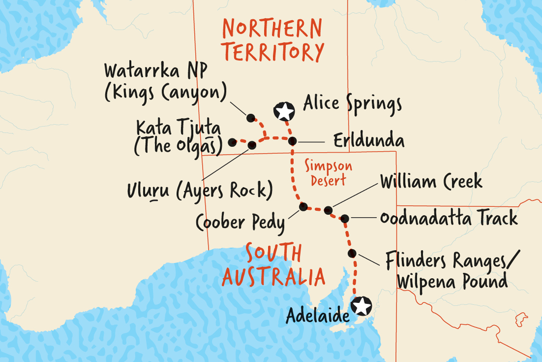map of alice springs to adelaide overland including australia