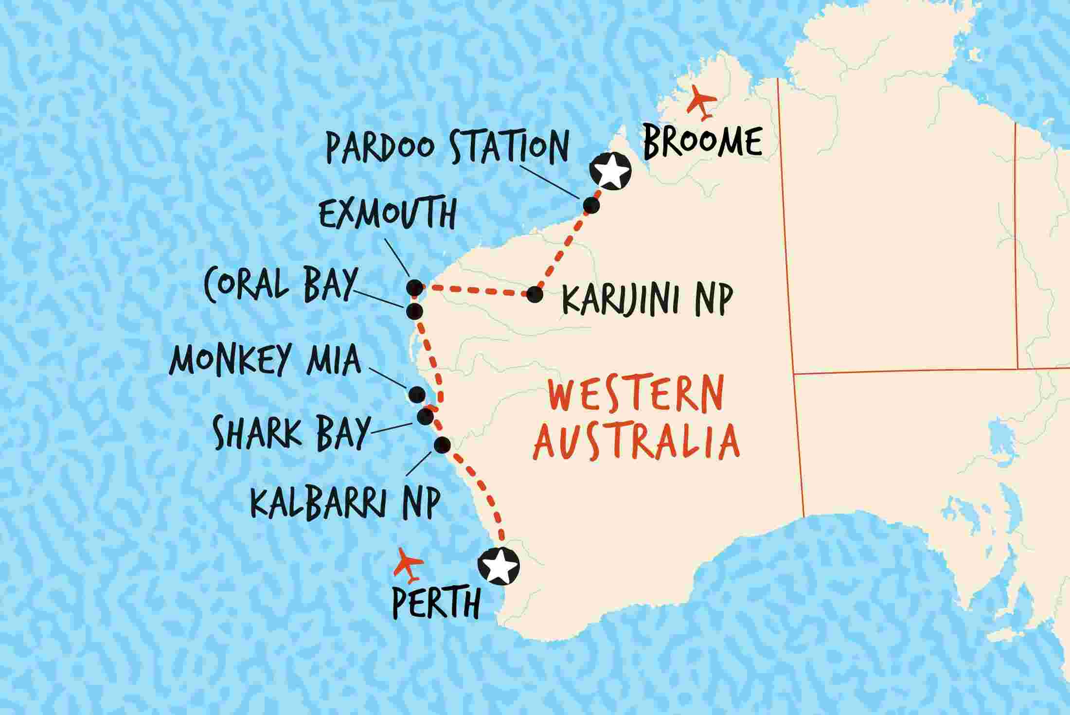 Australia West Coast Map.Broome To Perth Overland Overview Broome To Perth Overland