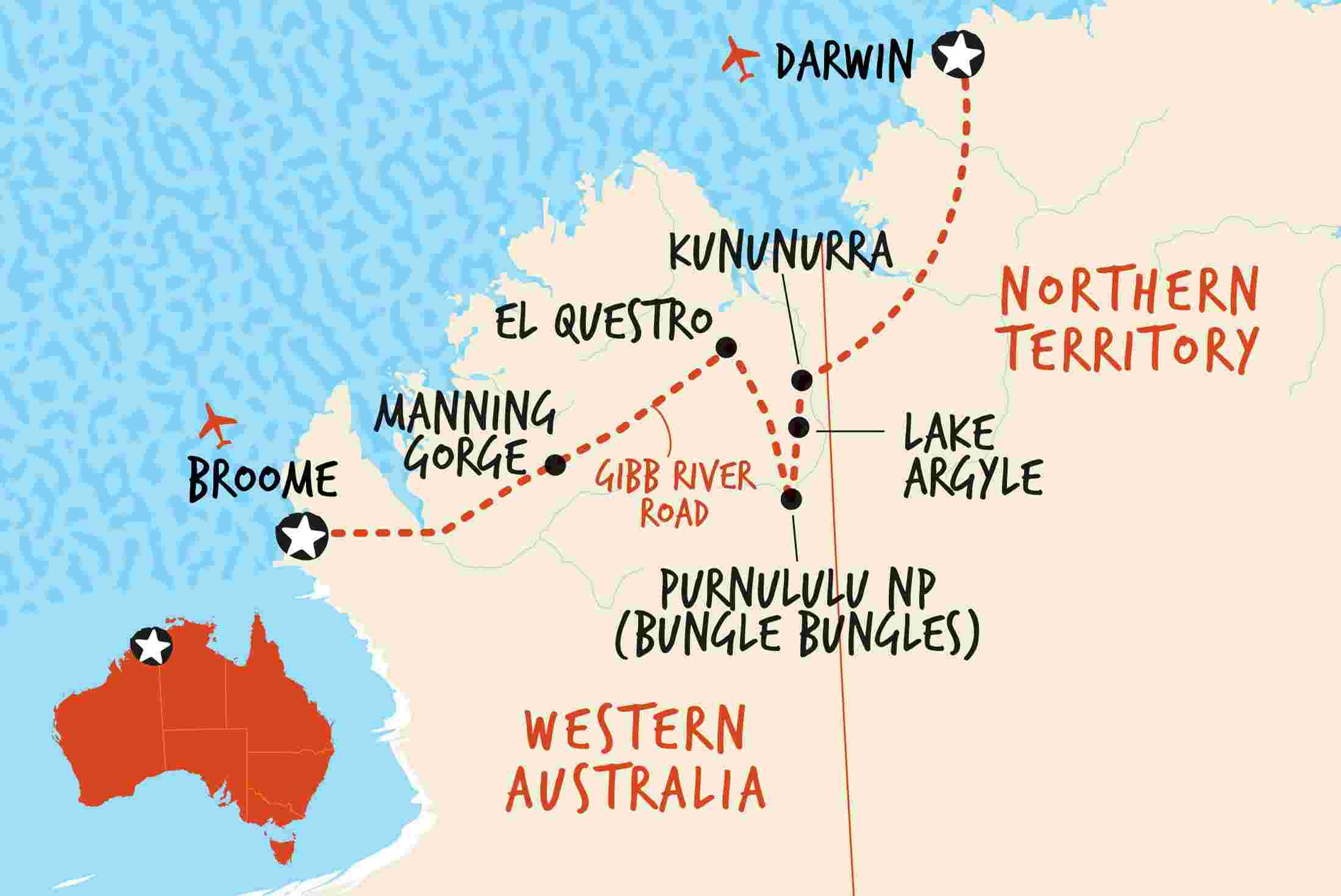 Western Australia 4wd Map.4wd Darwin To Broome Overland Adventure Tours Au