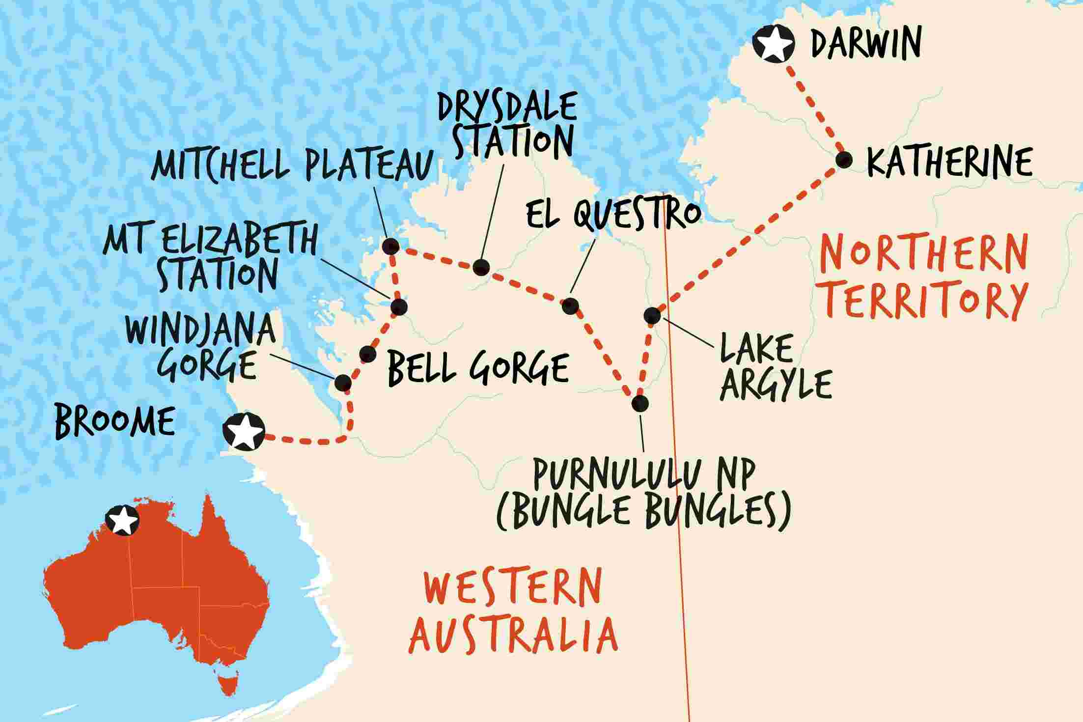 Australia West Coast Map.Best Kimberley Tours Experiences Adventure Tours Australia