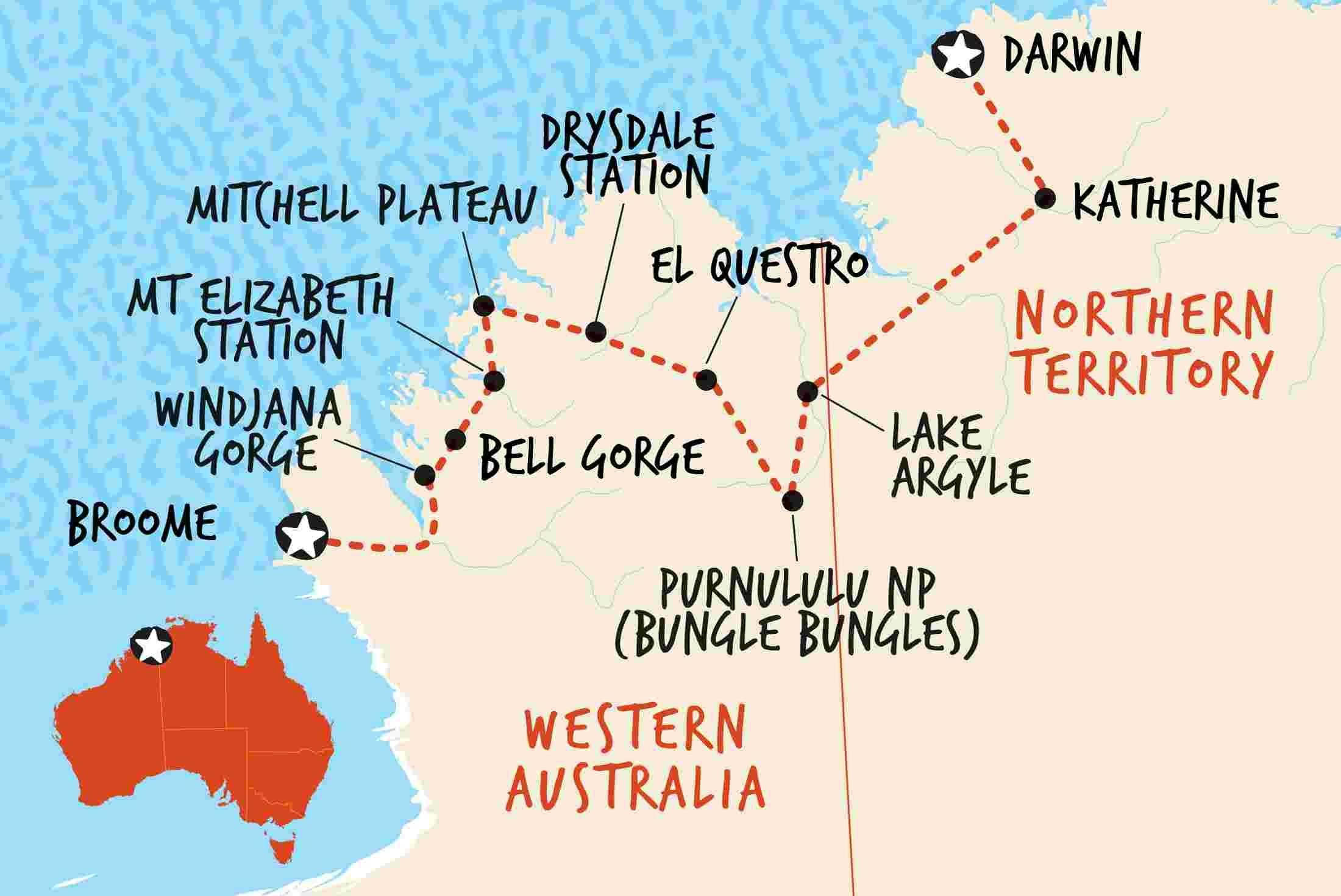 Australia Map Darwin.Kimberley Trail Darwin To Broome Overview Kimberley Trail Darwin To Broome