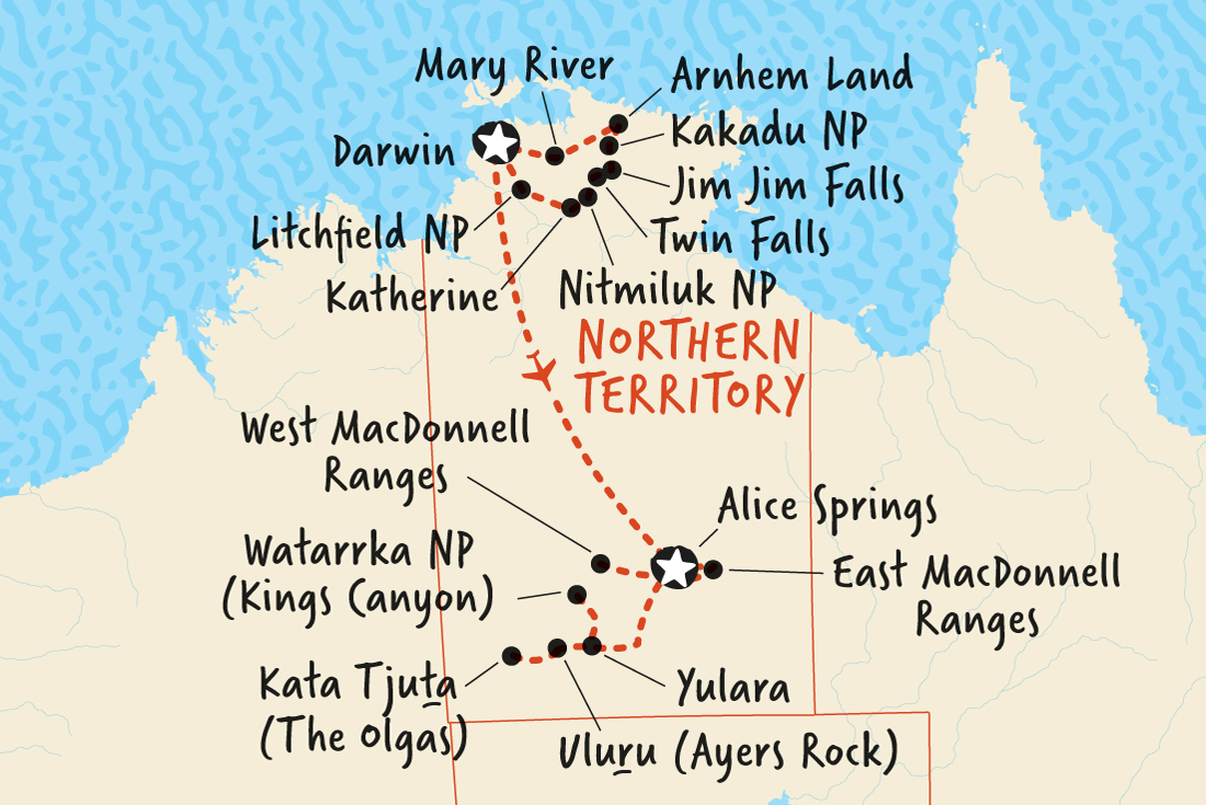 Map Of Australia Showing Uluru.Total Territory Top End Outback Overview Total Territory Top End Outback