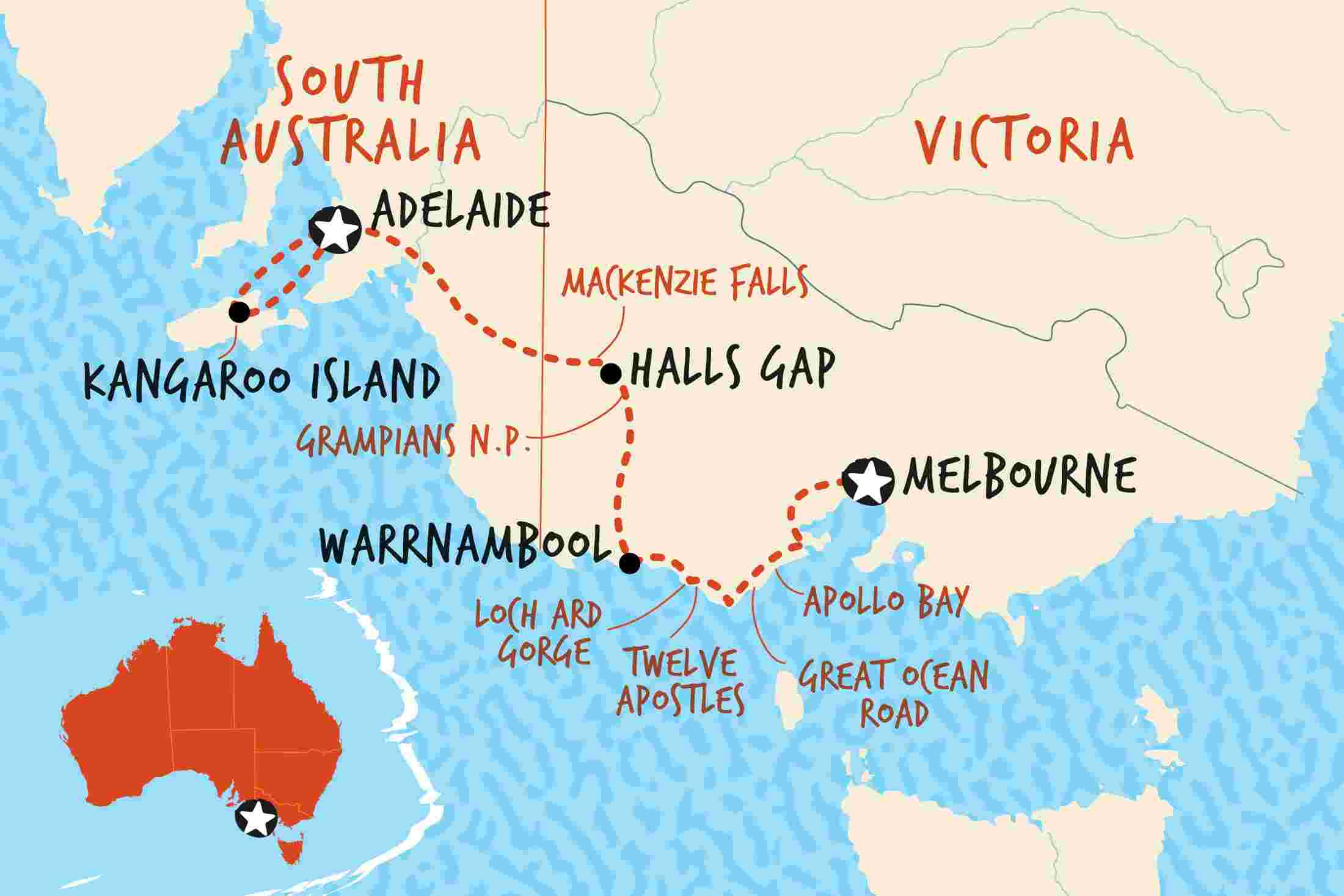 map of the great ocean road and kangaroo island adventure basix including australia