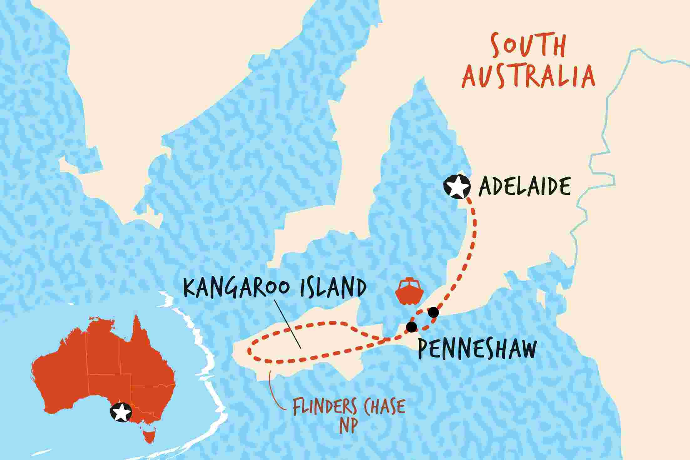 brand new 68e7f 1fac0 Map of Kangaroo Island Adventure including Australia