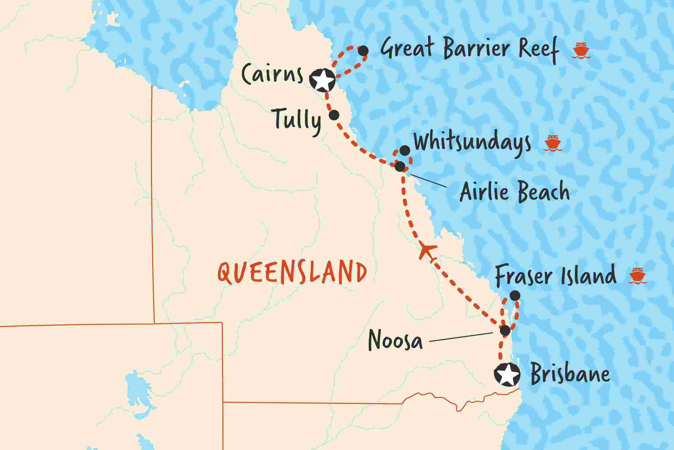 map of brisbane to cairns northbound including australia