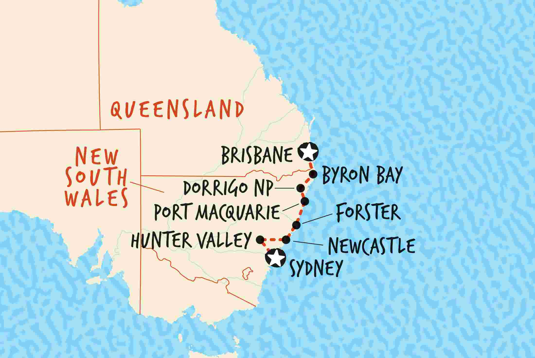map of australias east coast explorer brisbane to sydney including australia