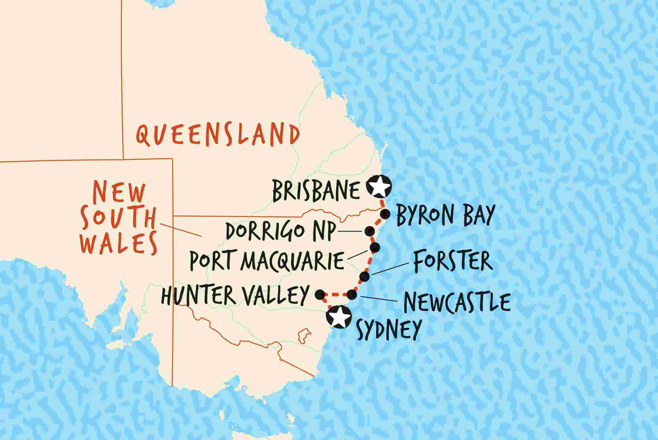 Map Sydney Australia.Sydney To Brisbane Northbound Overview Sydney To Brisbane Northbound