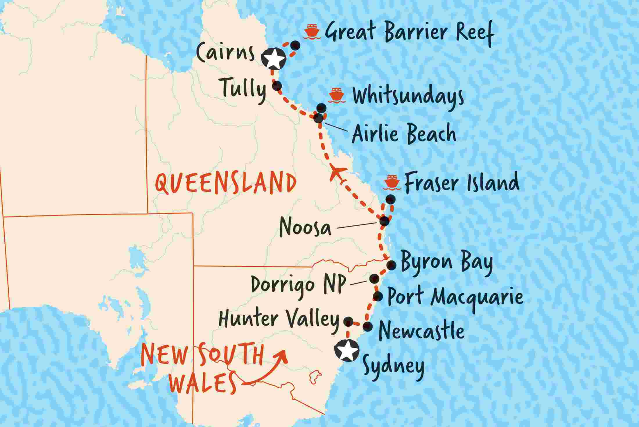 East Coast Of Australia Map.Sydney To Cairns Northbound Overview Sydney To Cairns Northbound