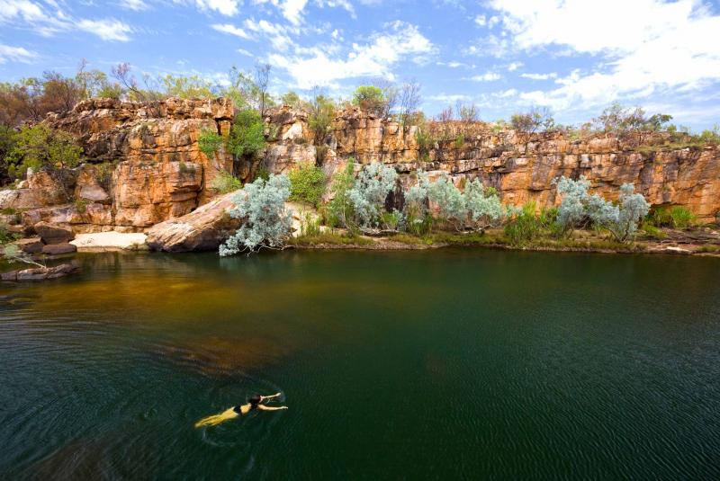 Swimming in Windjana Gorge, Western Australia