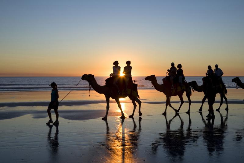 Camel riding on Cable Beach, Western Australia