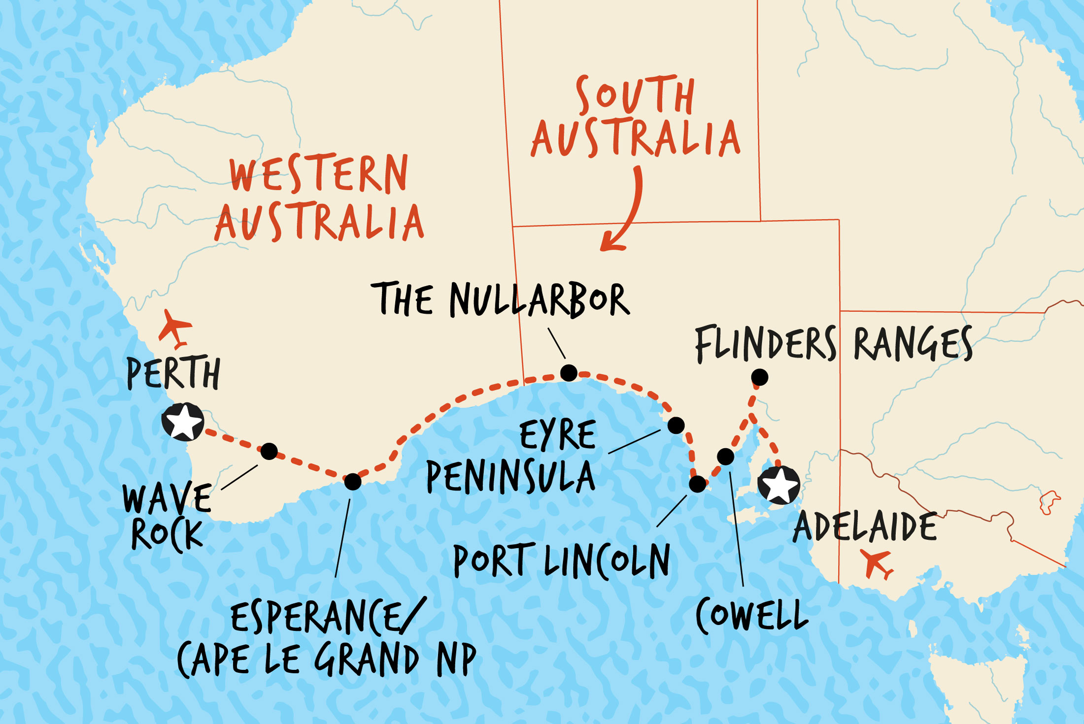 Map of Perth to Adelaide Overland including Australia