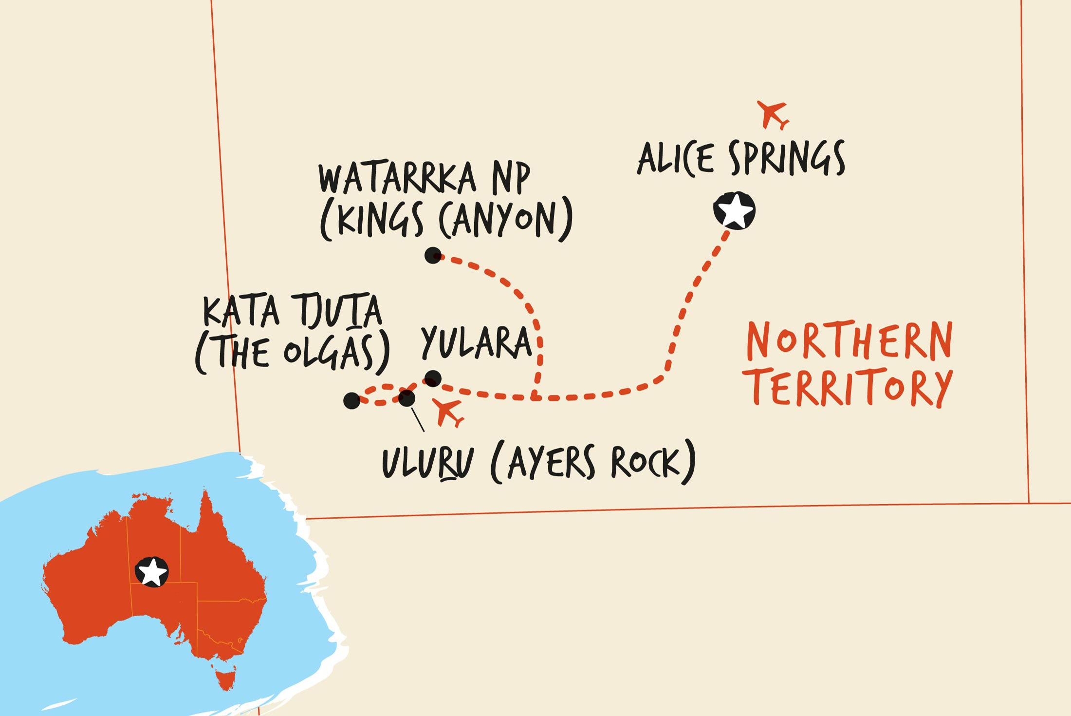 Map of Uluru Adventure (Basix) including Australia