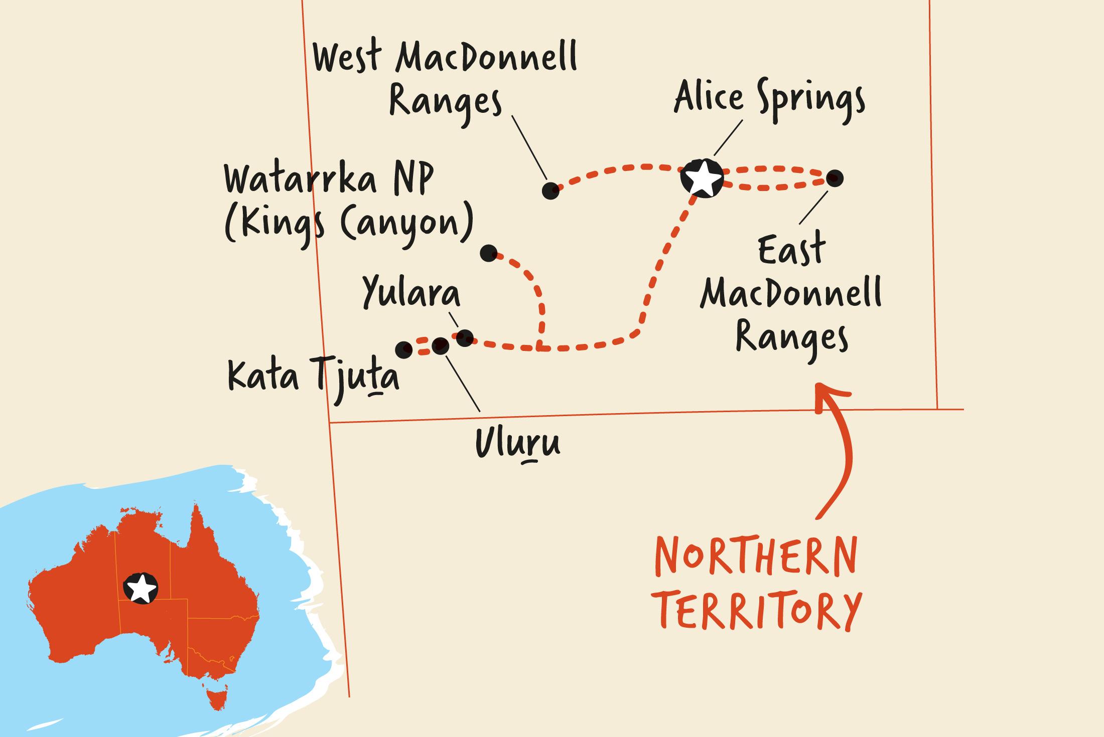 Map of Outback Camping Adventure ex Yulara including Australia