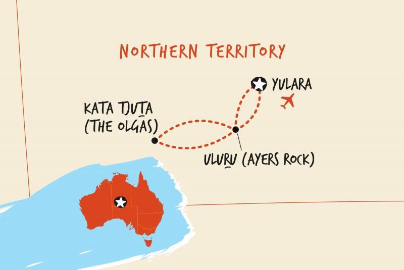 Map of Overnight Uluru Adventure  including Australia