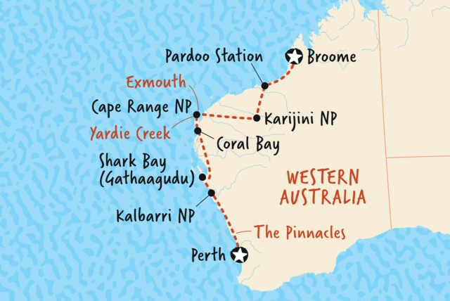 Map of Broome to Perth Overland including Australia