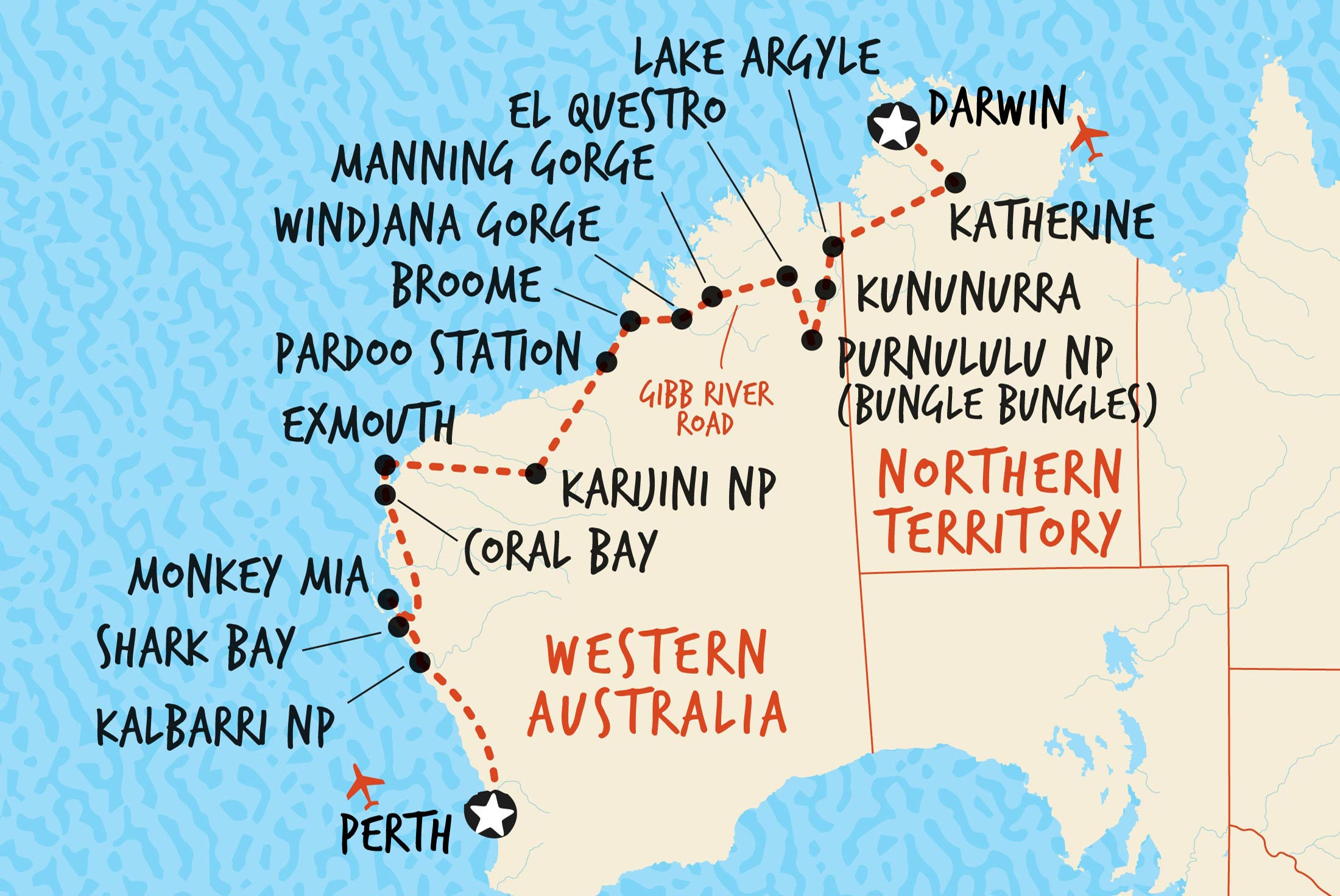 Map of Darwin to Perth Overland