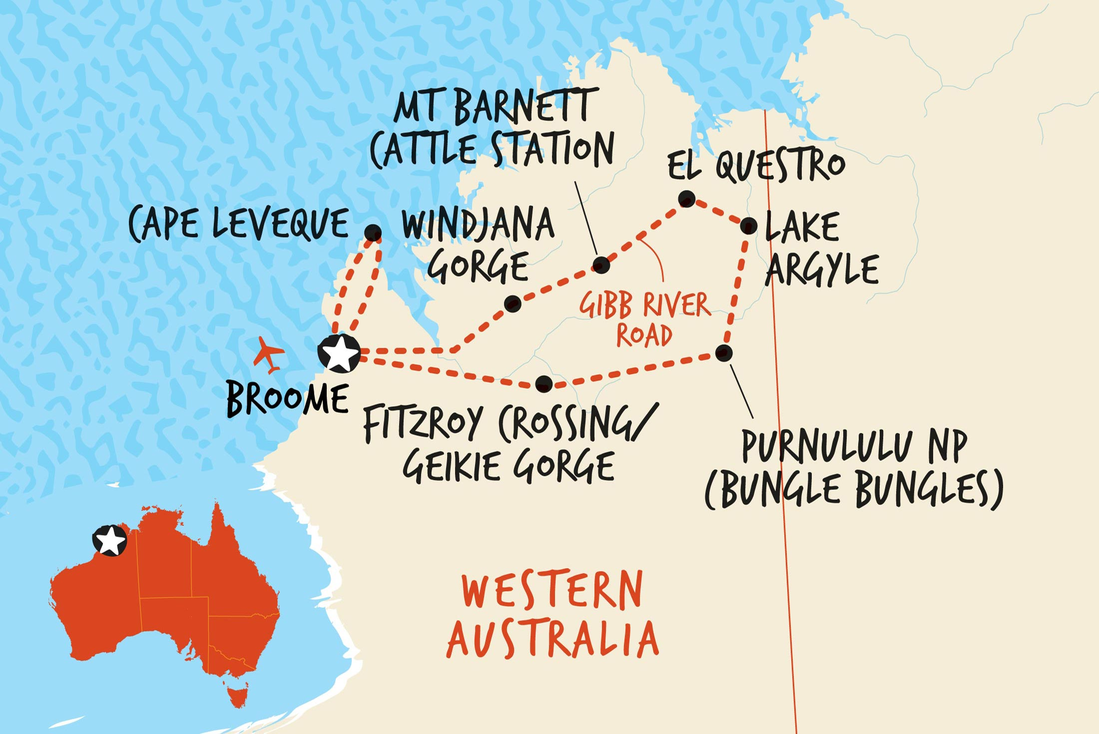 Map of The Great Kimberley Overland including Australia