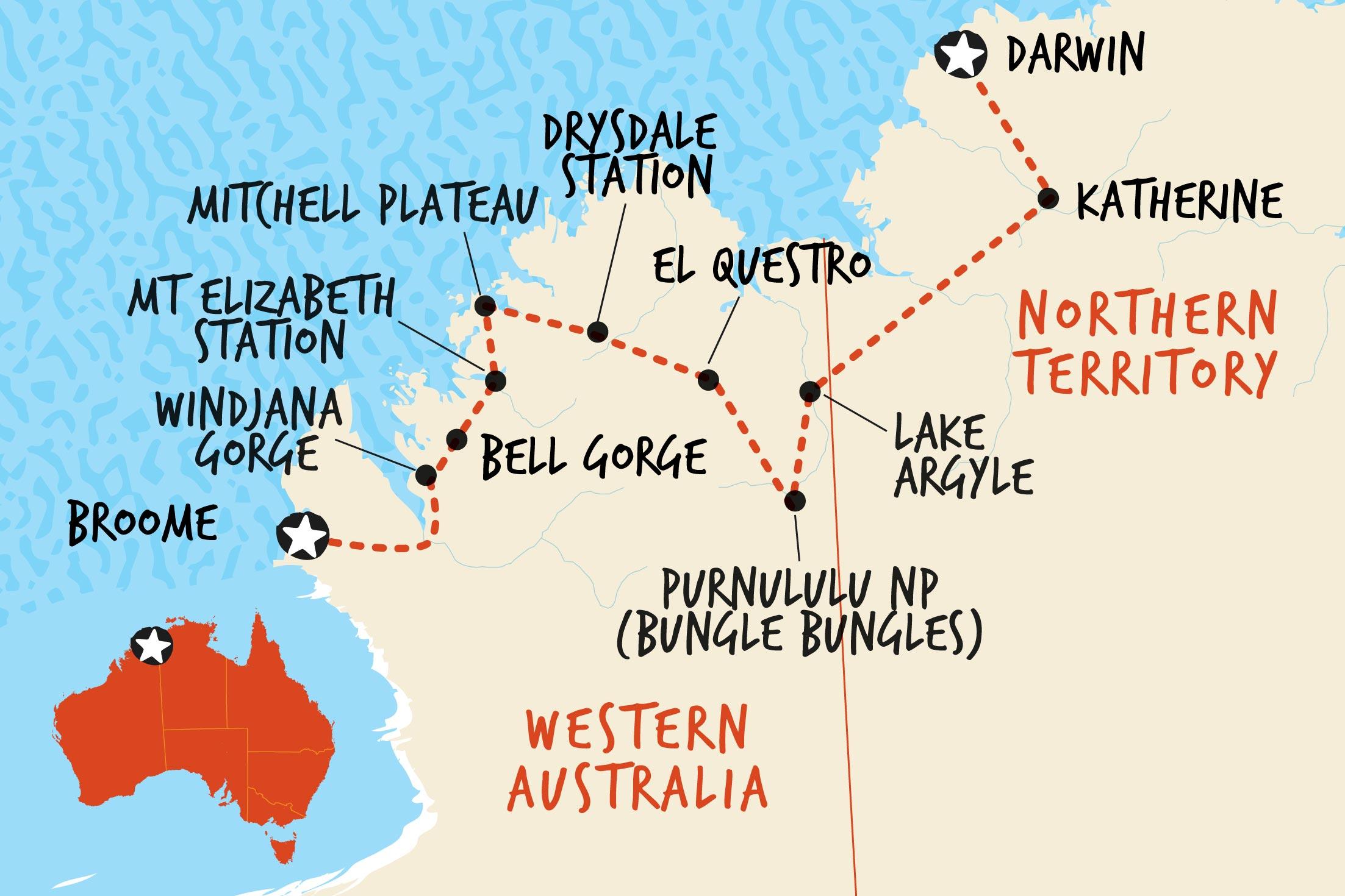 Map of Kimberley Trail Broome to Darwin including Australia
